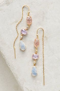 Gold crystal, long earrings