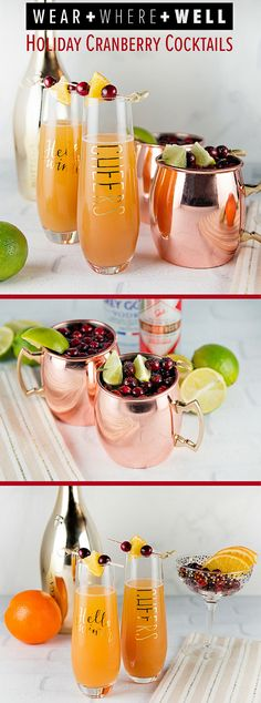 Holiday Cranberry Cocktails - Orange Cranberry Mimosa and Cranberry Lime Moscow Mule