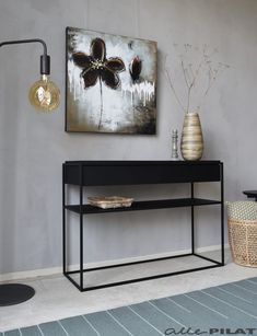 Black Side table Black from oak Woonwinkel Room Decor, Hallway Table Decor, Aesthetic Room Decor, Entrance Table Decor, Living Room Side Table, Black Side Table, Table Decor Living Room, Side Table Decor, Hallway Decorating