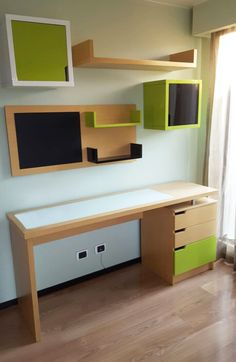 Escritorios de madera Study Table Designs, Study Room Design, Living Room Tv Unit Designs, Study Room Decor, Home Room Design, Home Office Design, Home Office Decor, Interior Design Kitchen, Built In Computer Desk