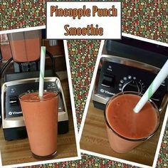 Pineapple Punch Smoothie  1 cup coconut water  6 fresh strawberries  1 orange  2 Tblsp coconut milk yogurt  2 tsp flax seeds  1 tsp maca powder  1 scoop MegaFoods turmeric powder  1 Tblsp dried goji berries  1 1/2 cups frozen pineapple  Blend in Vitamix  #vitamix #healthy #vegan #nondairy #govegan #godairyfree #plantstrong #plantstrongvegan #smoothie #breakfastsmoothie #fruit #keepitreal #whatveganseat #veganfoodenthusiast #flaxseeds #healthyinhealthyu #dairyfree #gojiberries #macapowder