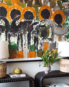 A rare Purvis Young painting backs our Belgian cast iron riveted consoles and Japanese wood cog base lamps. Cast Iron, It Cast, Cogs, Consoles, Japanese, Painting, Lamps, Instagram, Base