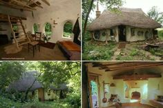 Cob house with thatched roof