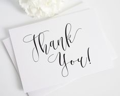 Flowing Calligraphy Thank You Cards - Thank You Cards by Shine