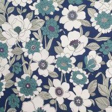 Dark Navy/White Floral Cotton Poplin Product #: 306306