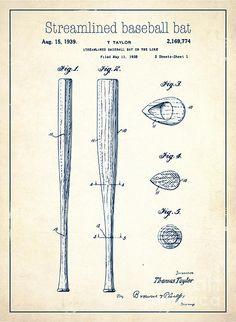 Streamlined Baseball Bat Or The Like White Us 2169774 A - Print