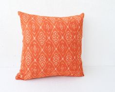 Ikat pillow - Decorative Orange Ikat cushion cover - Cotton throw pillow cover-  Accent pillows  16X16, Gift pillow