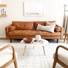 Sven Charme Tan Sofa Are you a morning person or a night owl? I'm trying to be better at Boho Living Room, Living Room Sofa, Home And Living, Living Room Decor, Tan Leather Sofas, Interior Exterior, Interior Design, Living Room Inspiration, Family Room