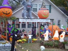 Halloween Mitzel Style! This is my house 3 yrs ago. I do it every year. I love inflatables!