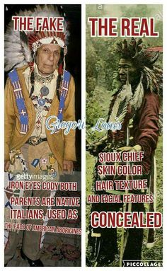 Comparative analysis.  Contrevorsal image of a modern individual classified as Native American and an individual from late 1800 to early 1900, Native Americans of the past.  Make your own decision...