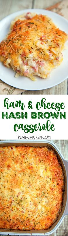 Ham and Cheese Hash Brown Casserole - only 6 ingredients! Hash browns ham parmesan cheese cheddar cheese cream of potato soup and sour cream. He took one bite and couldn't stop raving out this casserole! Can make ahead of time and refrigerate Cheese Hashbrown Casserole, Hash Brown Casserole, Casserole Dishes, Casserole Recipes, Quiche Recipes, Brunch Casserole, Pioneer Woman Breakfast Casserole, Frozen Hashbrown Recipes, Side Dishes