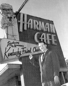 HARMAN CAFE 1960s Salt Lake City Utah THE WORLD'S FIRST KFC (Kentucky Fried Chicken) restaurant is still located here at 3900 South State Street in south Salt Lake City. KFC got it's start in 1952 when a local cafe owner named Pete Harman went into business with Harland Sanders(Colonel Sanders)Mr.Harman opened Harman's Cafe featuring Colonel Sander's recipe Kentucky Fried Chicken.(it was originally a  full service dine in cafe)which eventually grew into today's internationally franchised…