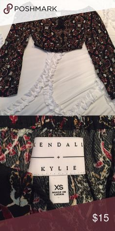 Kendall and Kylie Long sleeve crop top Kendall and Kylie crop top long sleeve off the shoulder! Never worn! Kendall & Kylie Tops Crop Tops