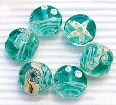 Seaside! Decorative sea glass beads, great for a pillow or a drape for color.