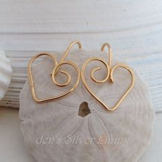 Handcrafted Gold Heart Earrings Mohter's Day by denssilverlinings