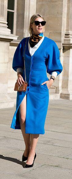 A bright blue dress with a silk scarf