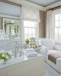 Neutral bath color... Curtains in black and white for kitchen