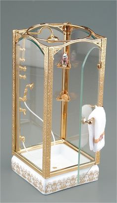 Glass Square Shower Unit | Mary's Dollhouse Miniatures