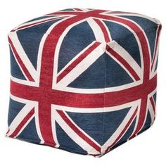 "Cube with a Union Jack motif.   Product: CubeConstruction Material: Polyester chenille jacquard cover and poly beads fillColor: Red, white and blueFeatures: Insert includedDimensions: Small: 18"" H x 18"" W x 18"" DLarge: 24"" H x 24"" W x 24"" DCleaning and Care: Covers are removable and machine-washable in cold water. Air dry."