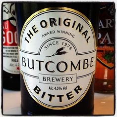 Butcombe Brewery - The Original Bitter - 4.5% ABV - made with pure Mendip spring water, Maris otter malt and a blend of traditional English hop varieties. Amber colour, hoppy malty pepper nose, clean dry bitter taste.
