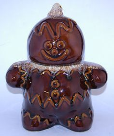 Vintage Hull Brown Drip Gingerbread Man Cookie Jar...Oh how I want this!! But can't find it where I can afford it...{{sigh}}...