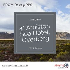 Spend 2 nights at the beautiful 4* Arniston Spa Hotel in the Overberg region from R 1219pps*   Included:  2 Nights accommodation at the 4* Arniston Spa Hotel Breakfast daily  Added values: Complimentary use of bicycles during stay Complimentary guided walk  Book by: 13 Dec 2020 Travel Between: 1 Nov - 13 Dec 2020  Contact us to book or to find out more on info@jennystravel.co.za or 012 347 8891 *T's & C's apply Travel Specials, Hotel Breakfast, Hotel Spa, Bicycles, How To Find Out, How To Apply, Night, World, Books