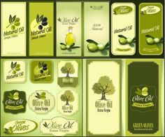 Olives banners, stickers and labels vector