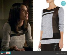 Tess's grey sweater with black panels on Beauty and the Beast. Outfit Details: http://wornontv.net/51489/ #BATB