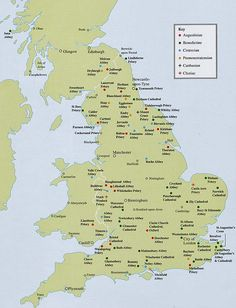 Maps Showing Religious Houses in England England Map, Tudor Era, England And Scotland, British History, Cathedrals, Charts, Britain, Maps, Houses