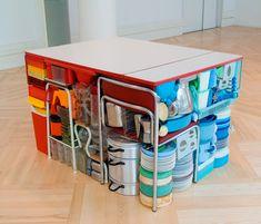 Michael Johansson: Rubiks Kök, 2007  (Rubik's Kitchen)  Kitchen table, kitchen equipment.