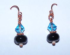 Black Agate Swarovski Crystal on Copper by Justatishdesigns, $10.00