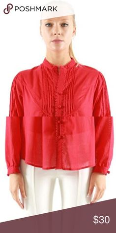 NEW VERTIGO RED Pleated Front TUXEDO Shirt This is just so beautiful and cute. This red color button down top is long sleeved and fits very well with a white or black trouser. Vertigo Tops Tees - Long Sleeve
