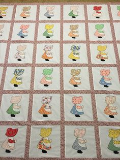 Sunbonnet Sue quilt top with 30's reproduction prints. Thanks Rose for believing in me and all your help.