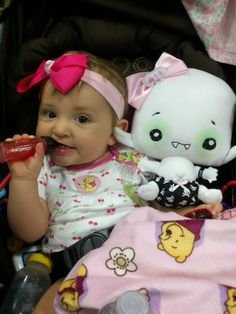 Midnight Mori, vampyre baby, is so delightfully comfy next to the human baby. She wishes it were sunrise so that she may fall asleep just like this!    San Diego Comic Con #Vamplets #Plush