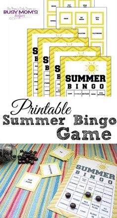 FREE printable summer bingo game   Fun end of school party game to kick off vacation.