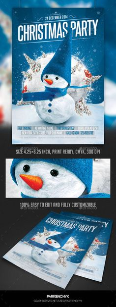 Christmas Party Flyer Template — Photoshop PSD #happy birthday #family christmas • Available here → https://graphicriver.net/item/christmas-party-flyer-template/9853879?ref=pxcr