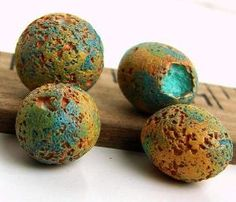 Rustic Polymer Clay Round Beads  Erosion by BeadsByEarthTones by Jaana Tikka