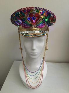 Love Khaos Hats www.LoveKhaos.com #rainbowheaddress #rainbow #burningman…