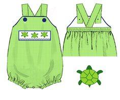 Lime Green Gingham Smocked Turtles Cross Back Sunsuit