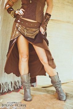 LONG PIXIE SKIRT -  Wrap around - Hippie Organic Faery Fairy Costume Fantasy - Chocolate Brown - Medium to Extra Large