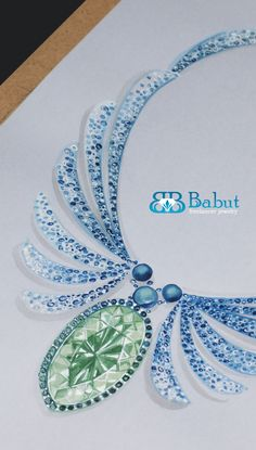 sketches design jewelry - blue pearl necklace made concept, emeralds and rubies blue in 18k white gold