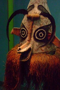 Bark-cloth dance mask Papuan Gulf New Guinea
