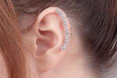 Crystal ear cuff long cartilage earring big by MilkyPeachshop