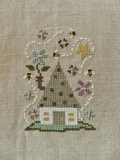"Paisley's Posts ""Spring House"" Bent Creek Zipper kit Stitched on Natural Light linen with perle cotton Small Cross Stitch, Cross Stitch House, Cross Stitch Needles, Cross Stitch Flowers, Cross Stitch Charts, Cross Stitch Designs, Cross Stitch Patterns, Cross Stitching, Cross Stitch Embroidery"