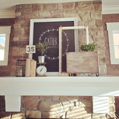 What a focal point! Love this stone fireplace with a crisp white mantel eclecticallyvintage.com