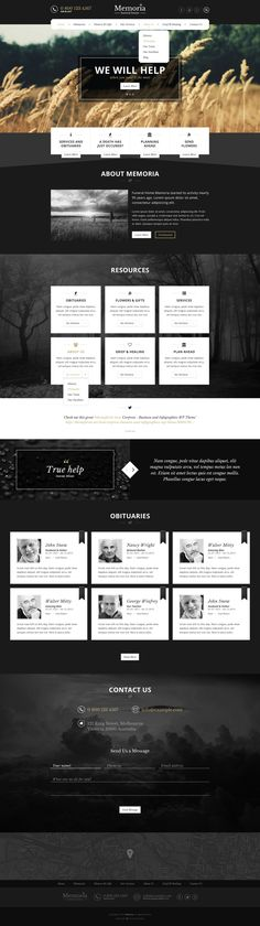 Memoria - Funeral Home PSD Template: Extensive and beautiful #PSD template for…