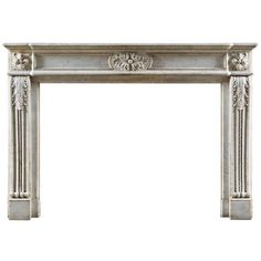 Antique Louis XVI Style French White Statuary Marble Chimneypiece | See more antique and modern Fireplaces and Mantels at https://www.1stdibs.com/furniture/building-garden/fireplaces-mantels