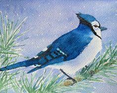 "blue jay watercolor painting archival print 8"" x 10"". 18.00, via Etsy."