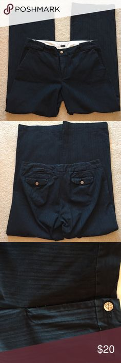 Gap black khaki pants Gap black khaki pants. Wide leg. Very comfy. Has some stretch and is black on black stripped. One of my fav pairs of pants. Can be casual or dressy. Size 14 Regular. GAP Pants Wide Leg