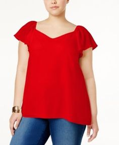 Monteau Trendy Plus Size Flutter-Sleeve Top -